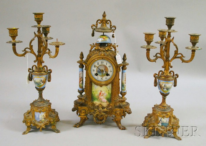 Three-piece French Clock Garniture