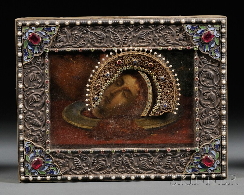 Russian Icon of John the Baptist's Head on a Platter