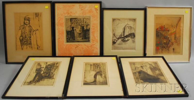 Seven Works:      J. Paul Verrees (Belgian, b. 1889), Four European Views