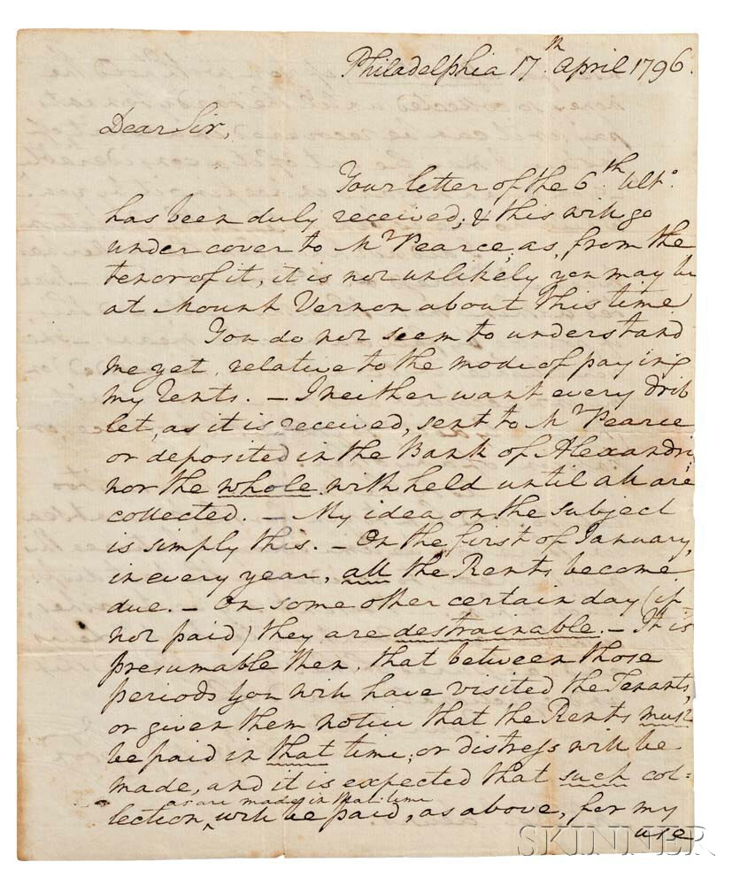 Washington, George (1732-1799) Autograph Letter Signed, Philadelphia, 17 April 1796.