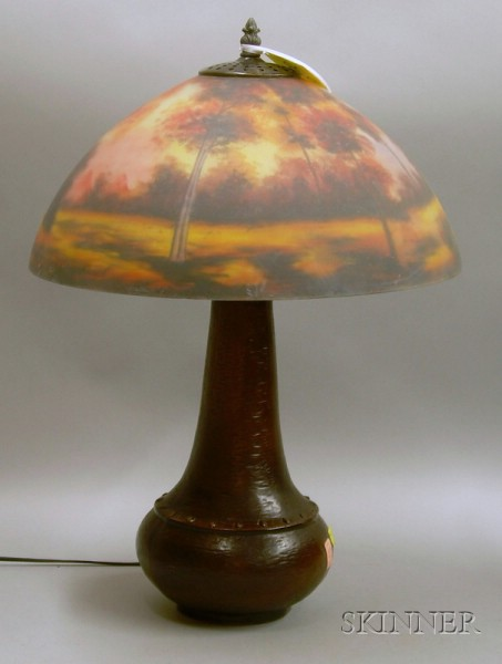 Reverse-painted Landscape Decorated Art Glass and Patinated Metal Table Lamp.