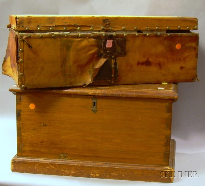 Small Leather-clad Trunk with Wallpaper-lining and a Small Pine Dovetail-constructed Chest.