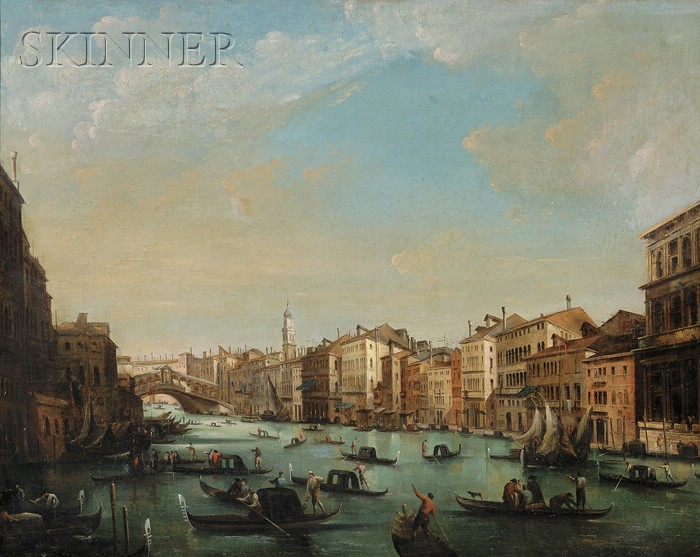 School of Francesco Lazzaro Guardi (Italian, 1712-1793)      Ponte di Rialto and The Grand Canal