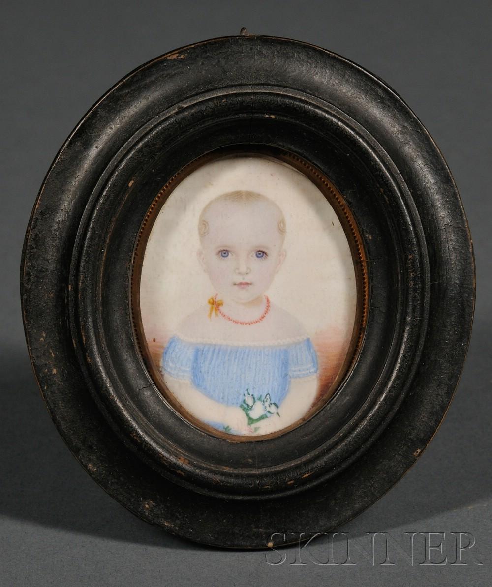 Portrait Miniature of a Child Wearing a Blue Dress