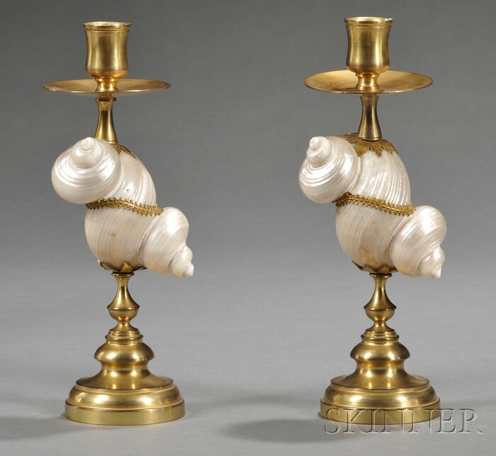 Pair of Gilt-brass and Mother-of-pearl Candlesticks