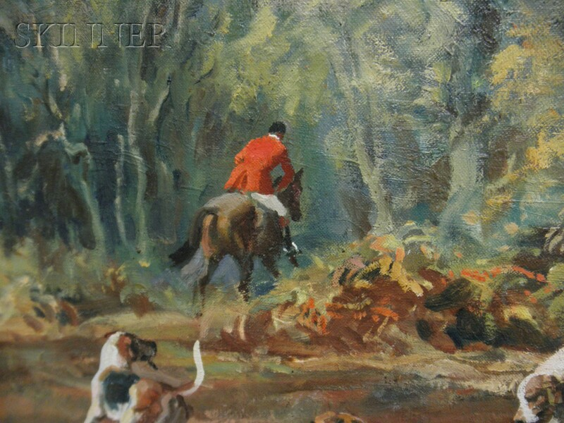 John Theodore Eardley Kenney (British, 1911-1972)      Huntsman and Hounds in a Fall Woodland