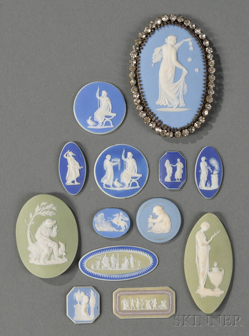 Thirteen Assorted Wedgwood Jasper Medallions
