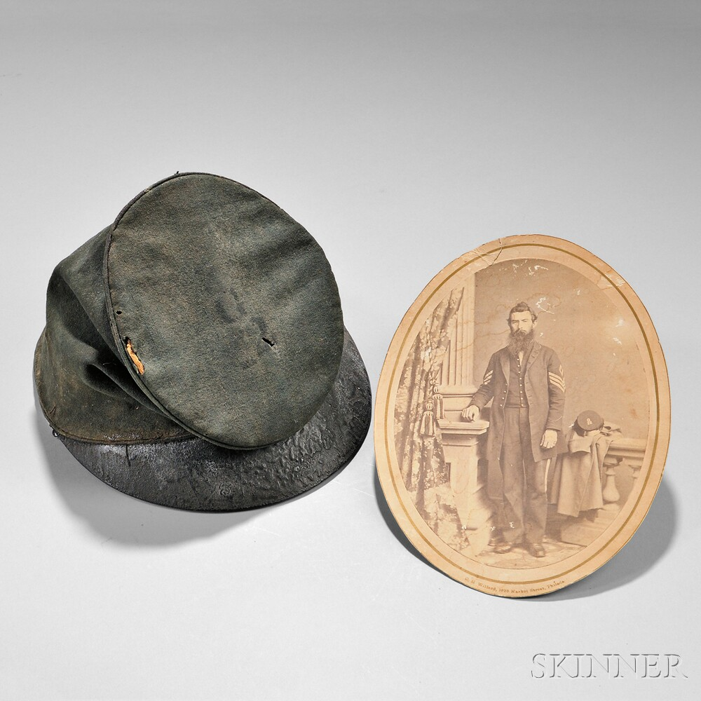 McDowell-style Forage Cap and Image of First Sergeant James L. McClure, Killed at the Battle of Antietam