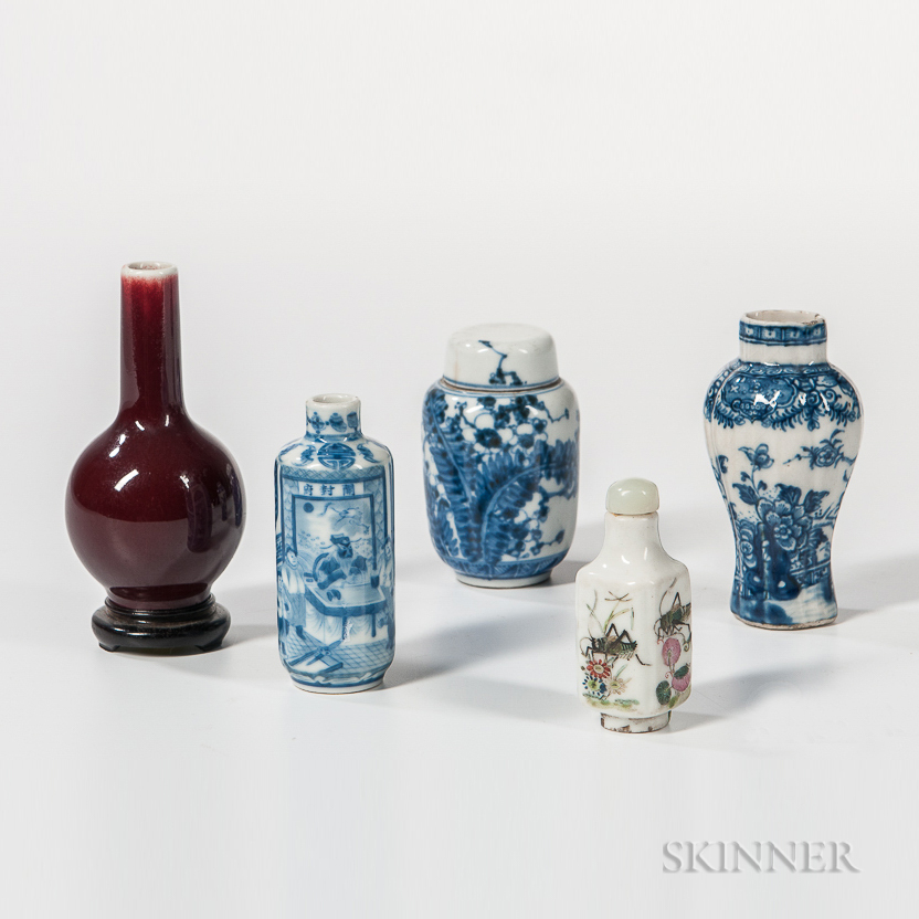 Four Miniature Vessels and a Snuff Bottle