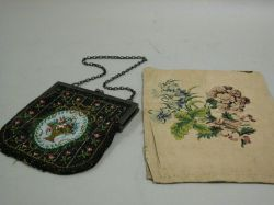Embroidered Silk Brides Bag and a Beaded Purse.