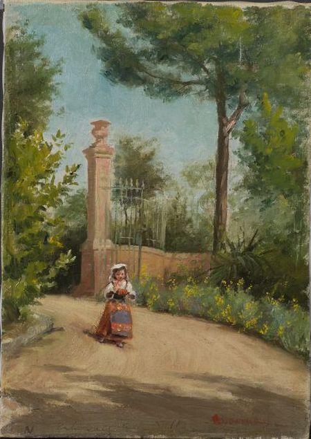 Jennie Brownscombe (American, 1850-1936)    Peasant Girl Before a Gate.
