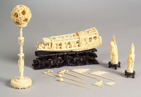 Four Carved Ivory Items