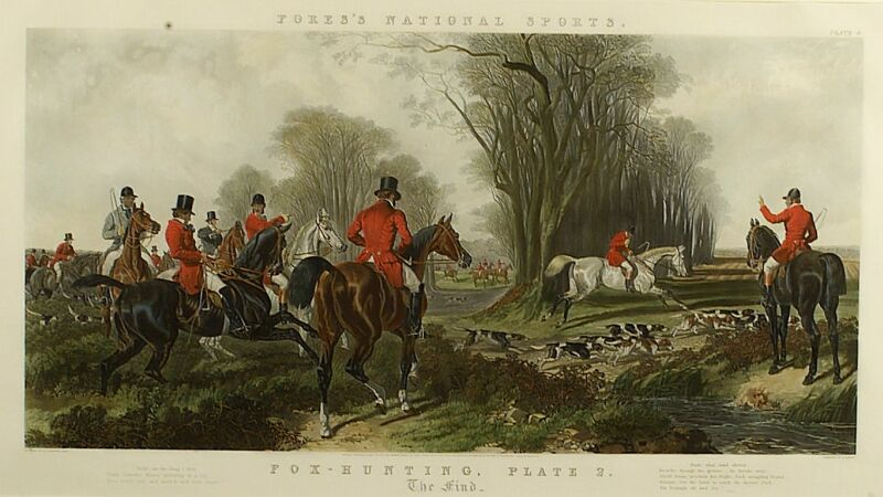 Large Framed English Tinted Hunting Print