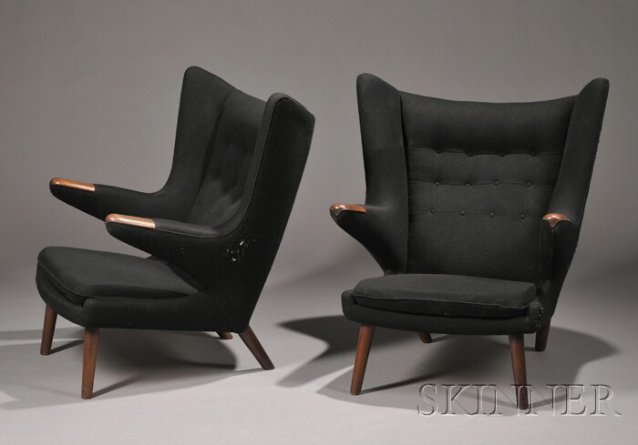 Two Hans Wegner (1914-2007) Papa Bear Chairs
