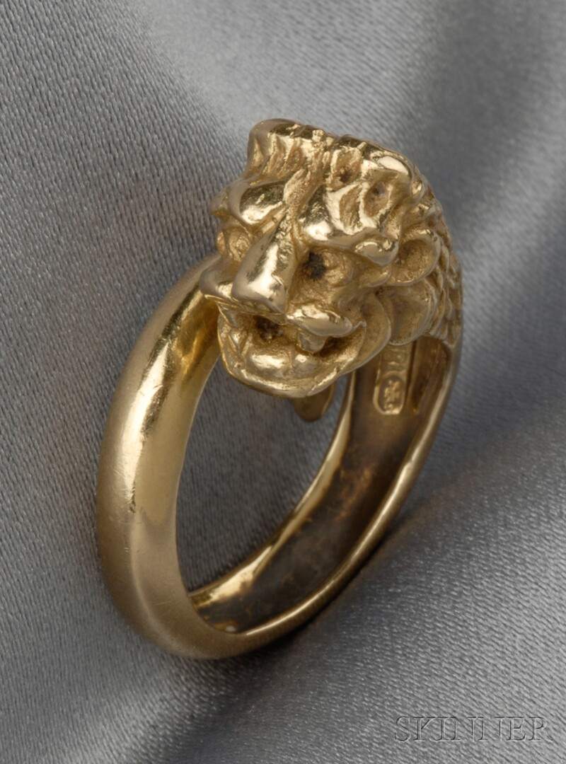 18kt Gold Lion's Head Ring
