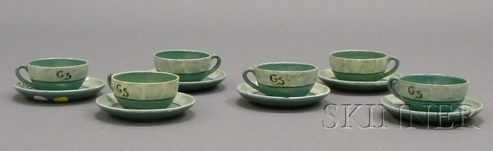 Six Paul Revere Pottery Cups and Saucers