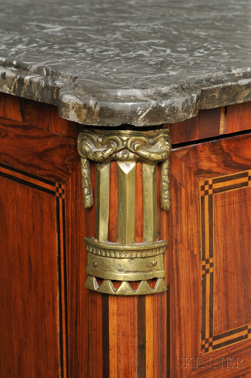 Louis VXI-style Marble-top Three-drawer Commode