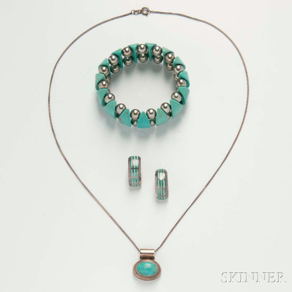 Turquoise and Sterling Silver Mexican Pendant and Bracelet