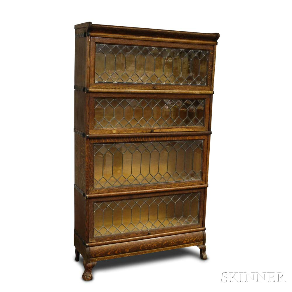 Macey Four-stack Oak and Leaded Glass Barrister Bookcase