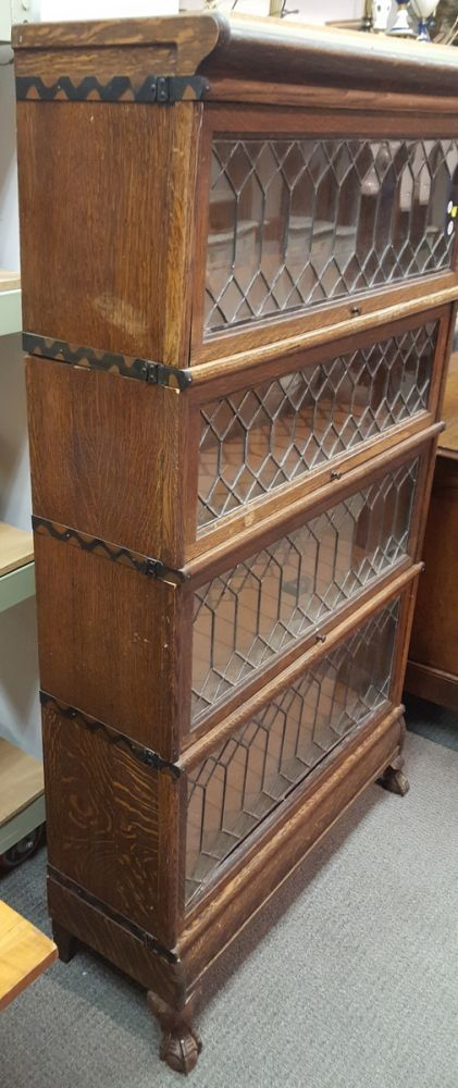 Macey Four Stack Oak And Leaded Glass Barrister Bookcase