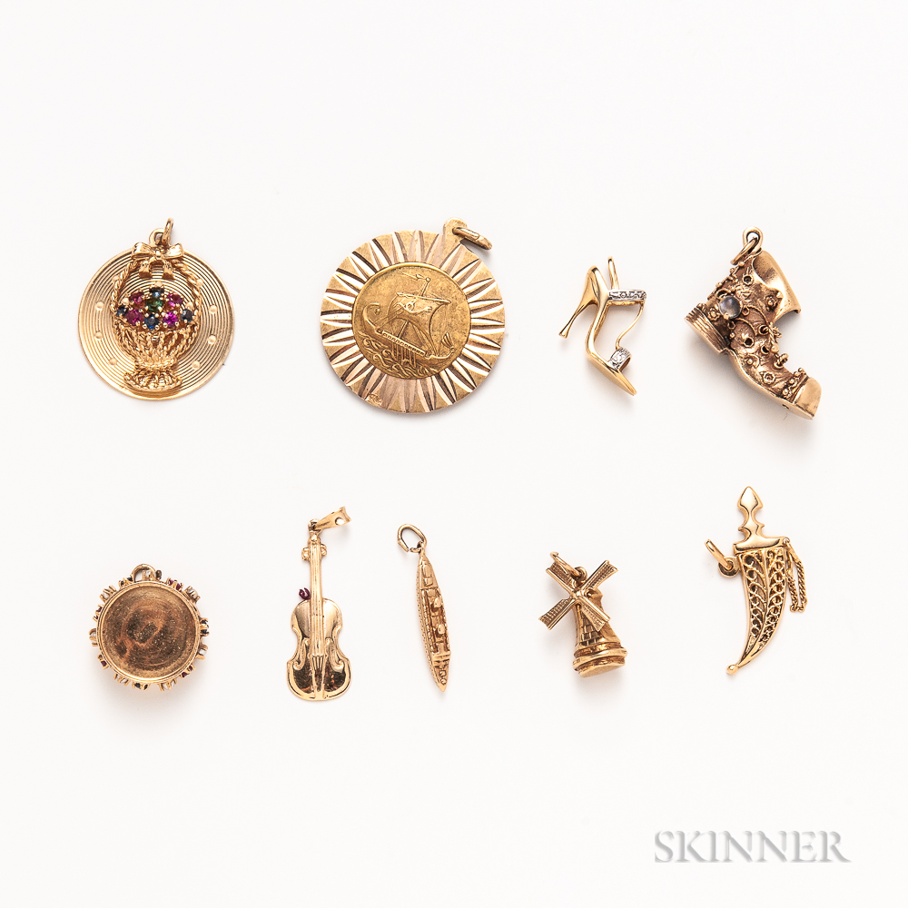 Group of Gold Figural Charms
