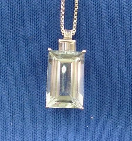 14kt White Gold, Diamond, and Aquamarine Pendant Necklace.