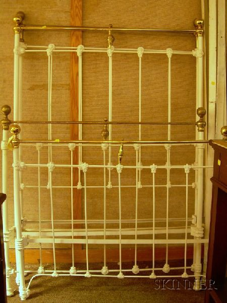 Two Brass-mounted Painted Cast Iron Beds.