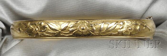 Art Nouveau 14kt Gold Bracelet, Krementz & Co.