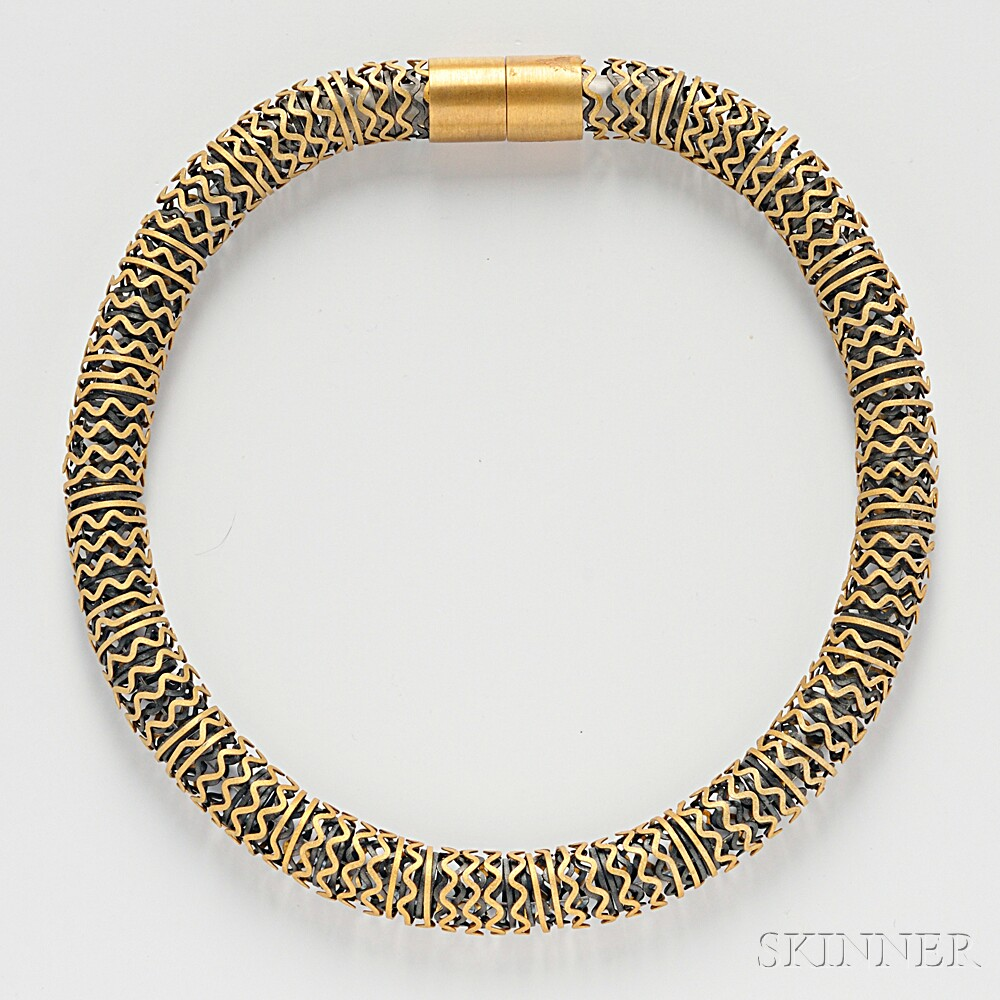 Sterling Silver Vermeil and Blackened Metal Necklace