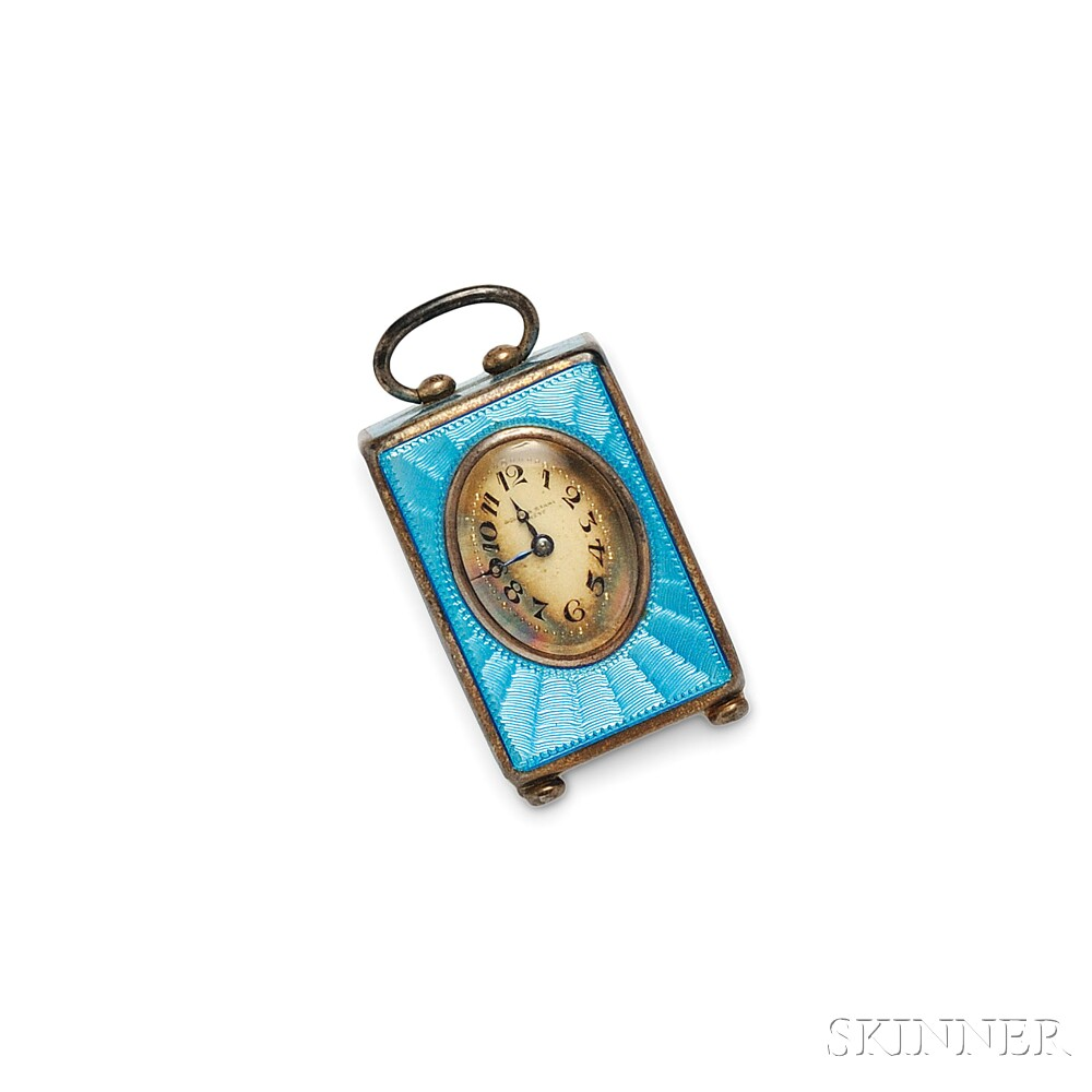 Edwardian Silver and Enamel Miniature Table Clock, Golay Fils & Stahl