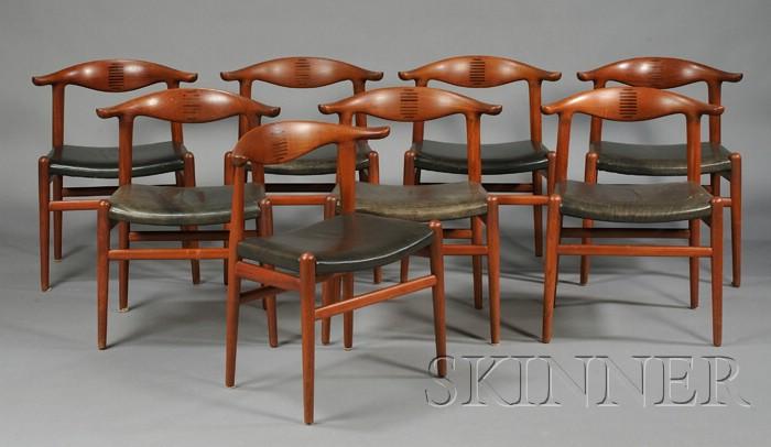 Eight Hans Wegner Cow Horn Chairs