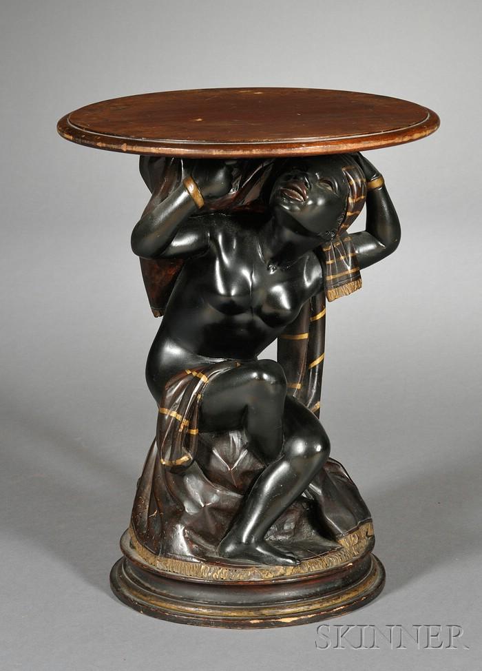 Venetian Style Painted and Ebonized Diminutive Blackamoor Table