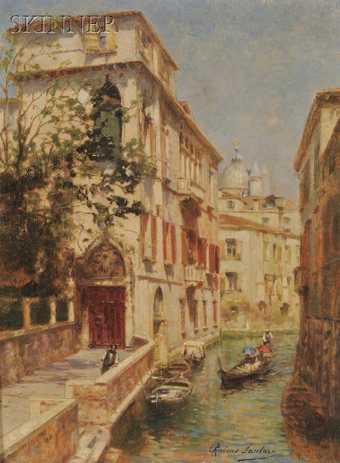 Rubens Santoro (Italian, 1859-1942)      View of a Gondola on a Canal, Venice