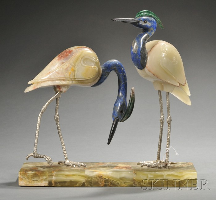 Lapis Lazuli, Onyx, and Silvered Metal Figural Group of Two Birds