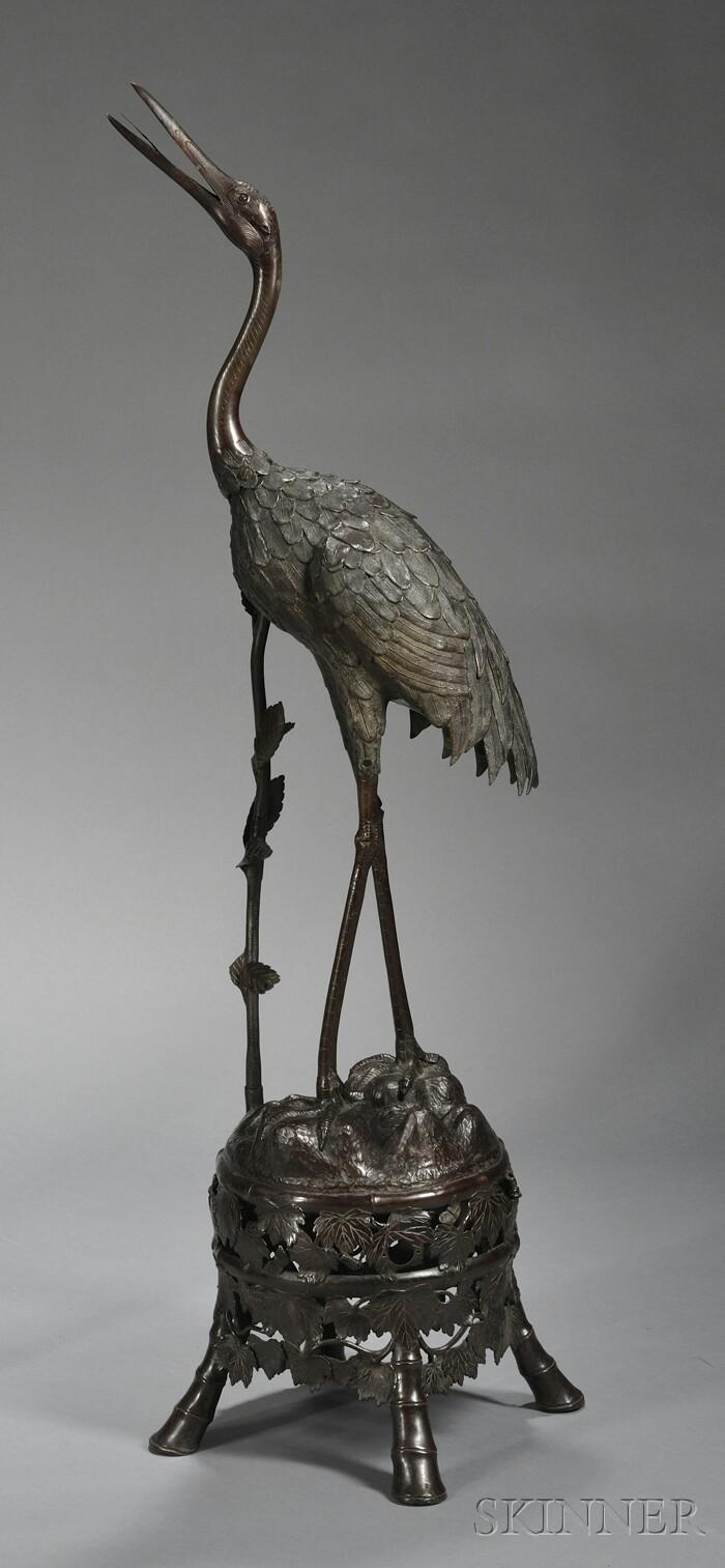 Japanese Meiji Period Bronze Statue of a Crane