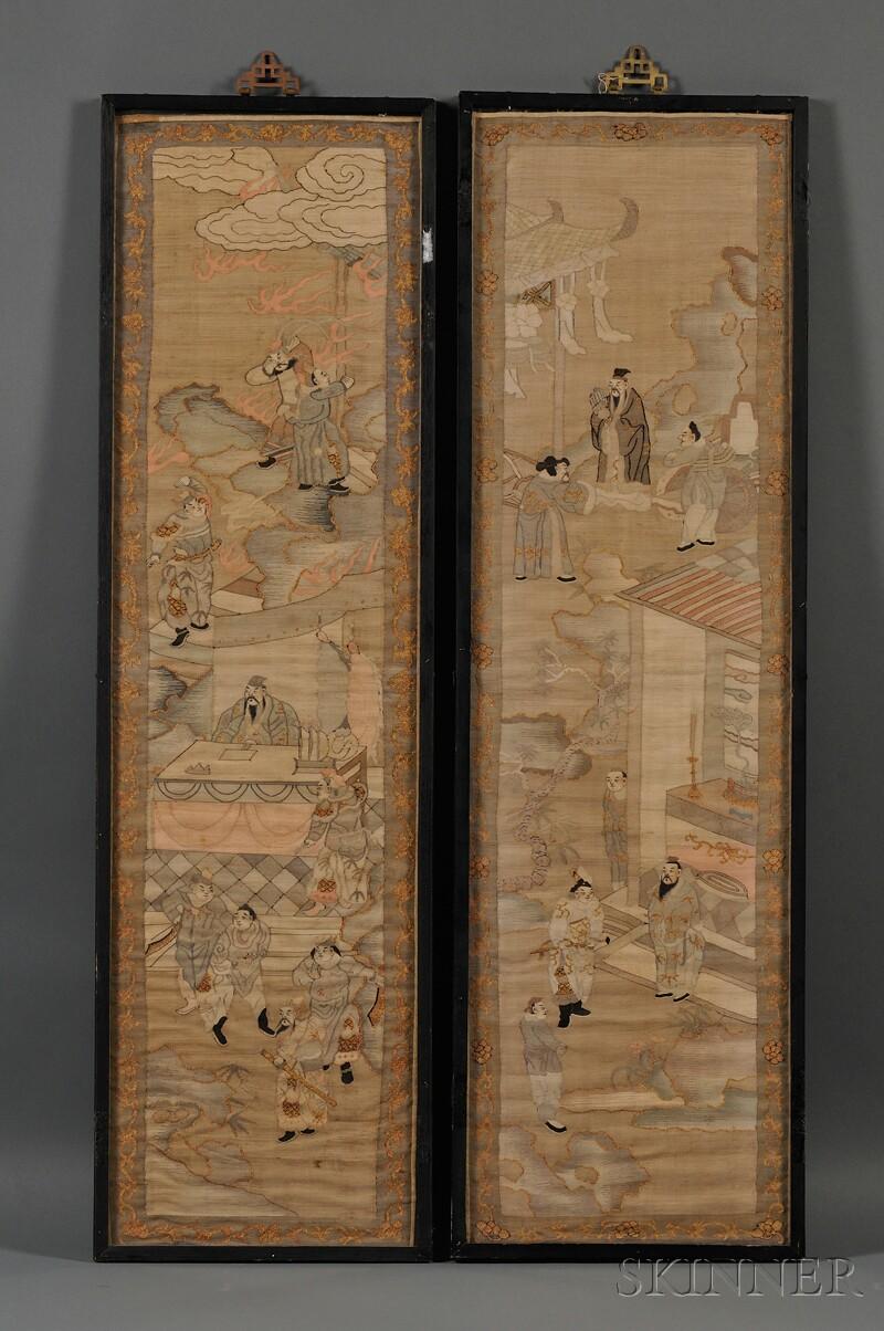 Pair of Framed K'o-ssu Panels