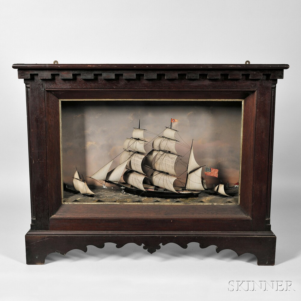 Shadow Box Tabletop Diorama of a Three-masted Vessel and Smaller Vessels