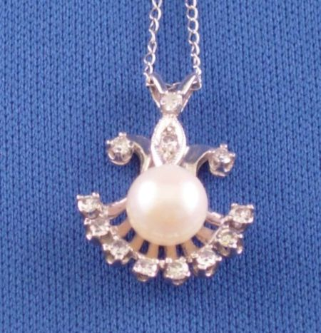 14kt White Gold and Diamond Framed Pearl Drop Pendant Necklace.