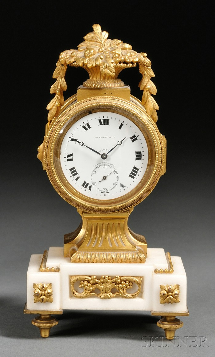 Miniature Tiffany & Co. Eight-Day Bronze and Marble Boudoir Timepiece
