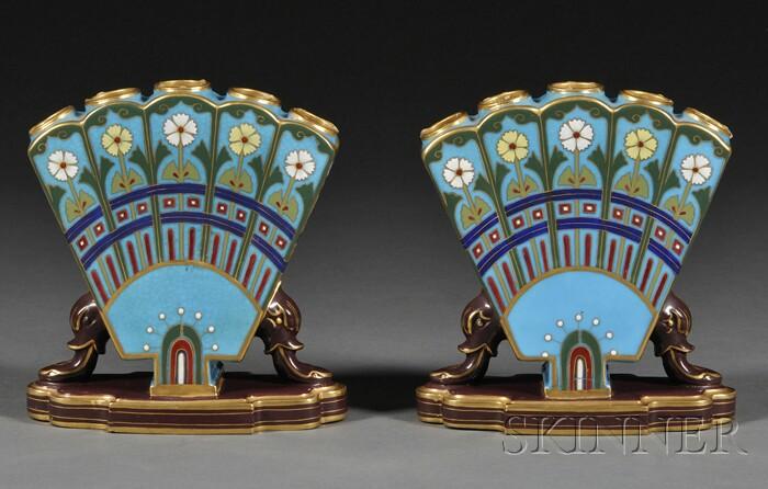 Pair of Christopher Dresser for Minton Porcelain Pseudo-Cloisonne Quintal Vases