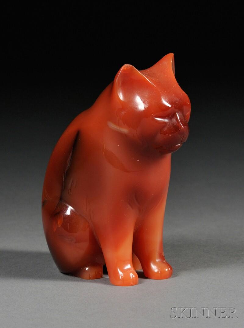 Carved Carnelian Figure of a Cat