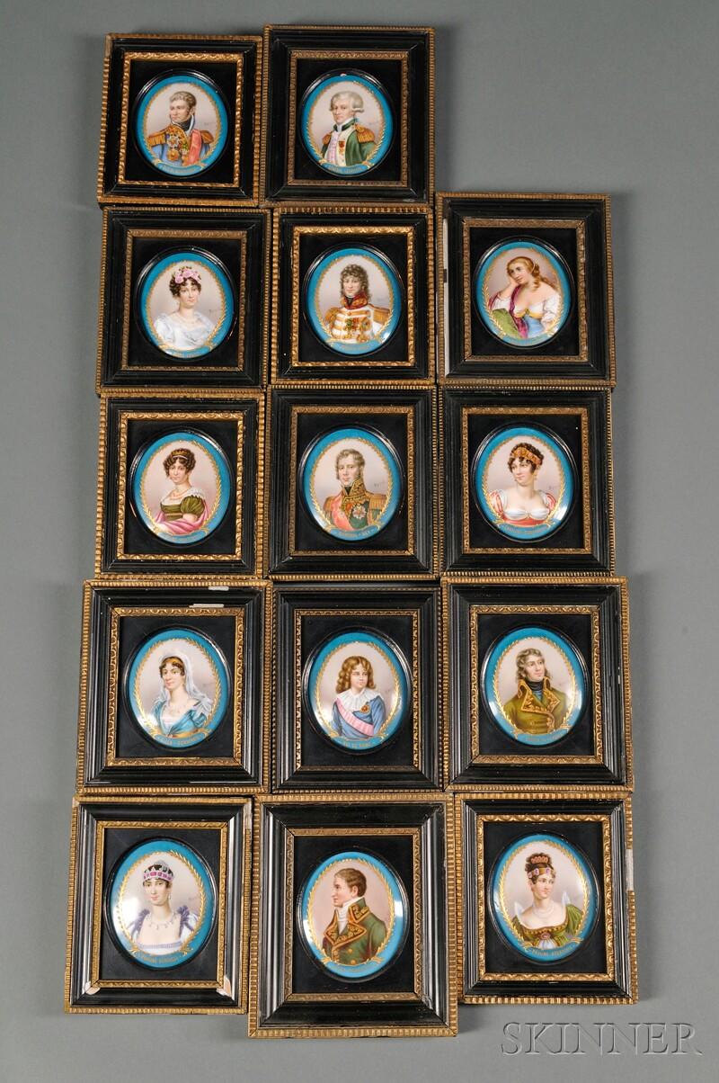 Set of Fourteen Sevres-style Porcelain Portrait Medallions