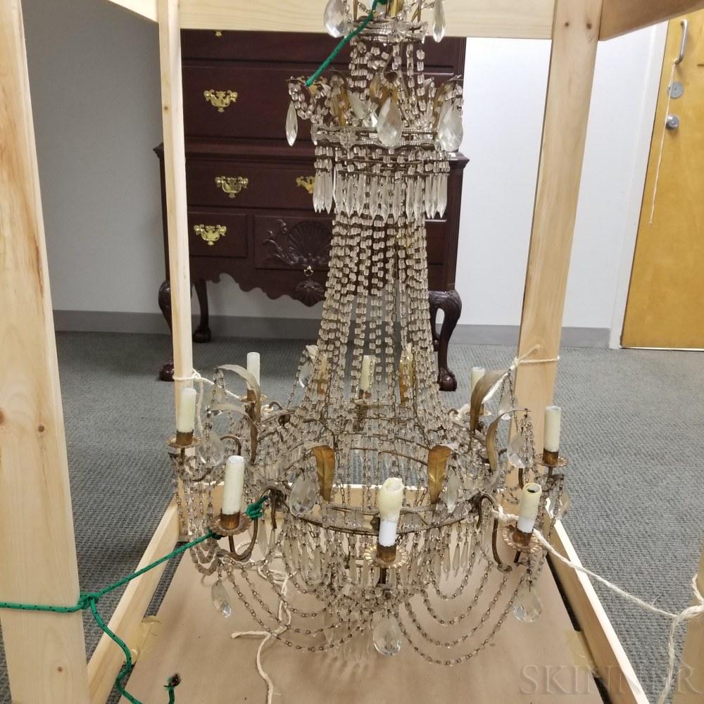 Brass and Glass Bead Eight-light Chandelier