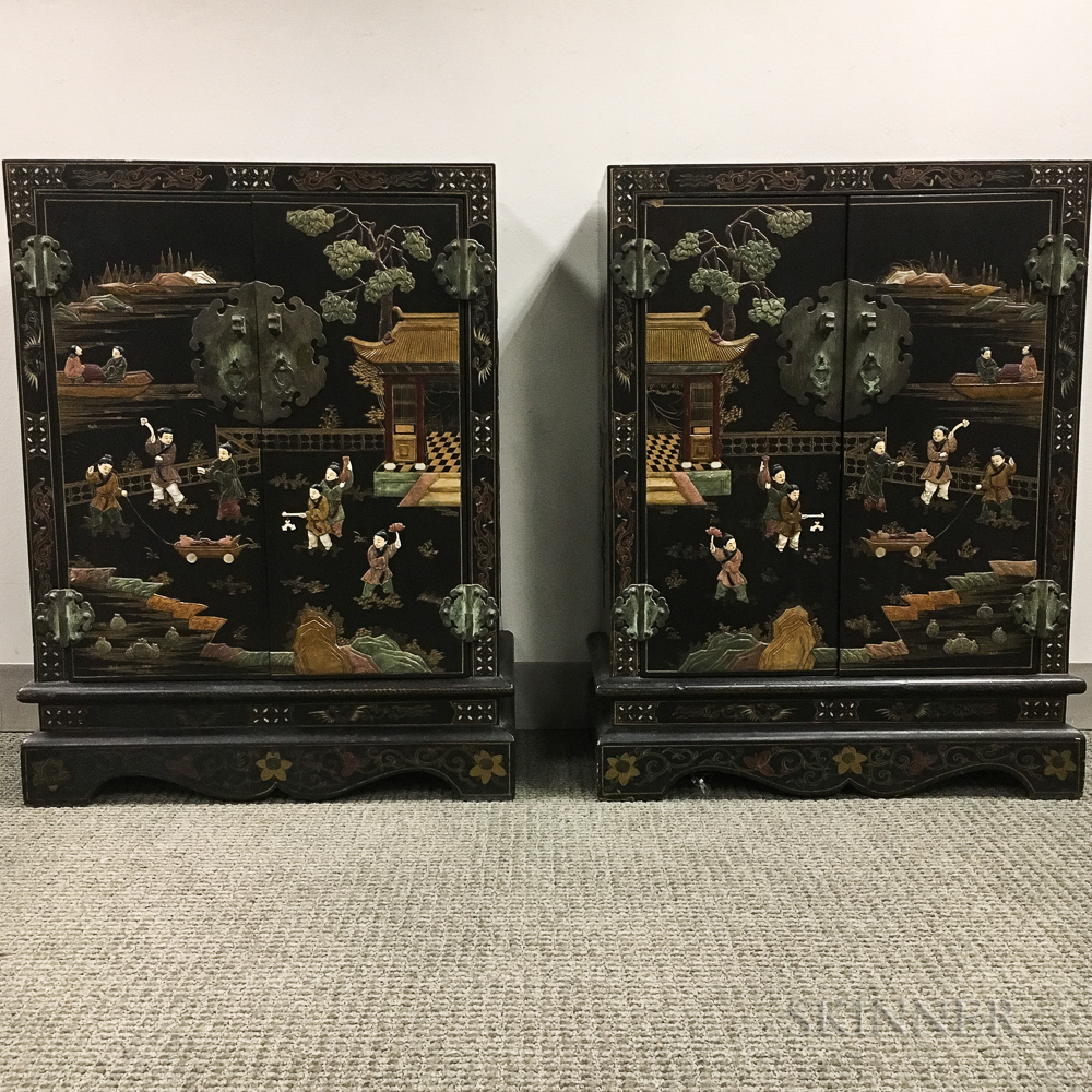 Pair of Asian Lacquered Cabinets