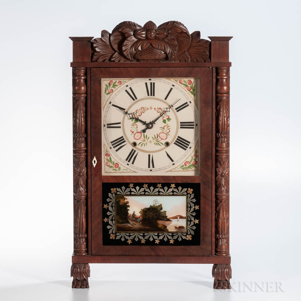 Elisha Hotchkiss Carved Transitional Shelf Clock