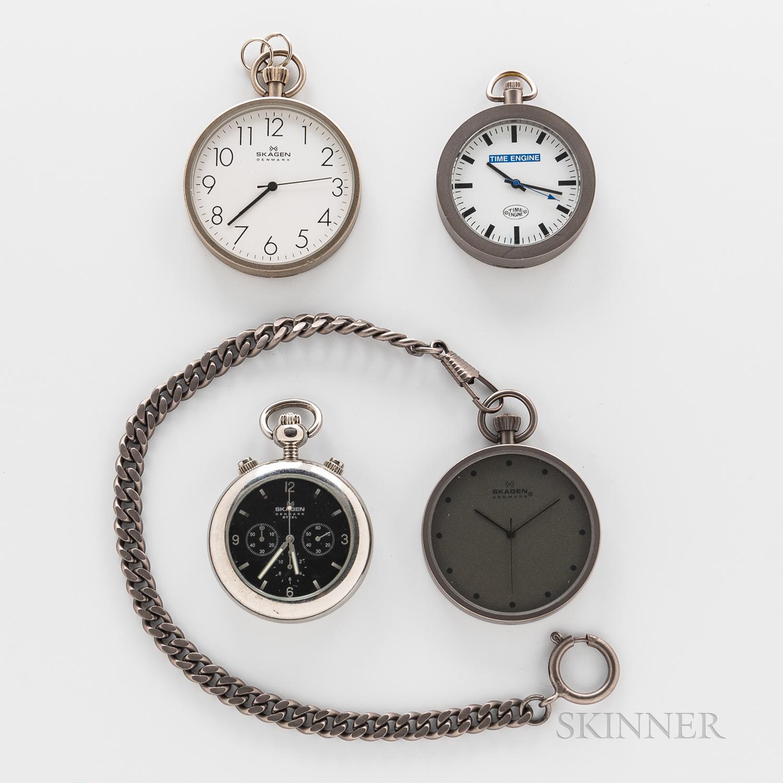 Four Contemporary Open-face Watches