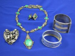 Silver Cuff Bracelets, Necklace, Brooche and Earrings.