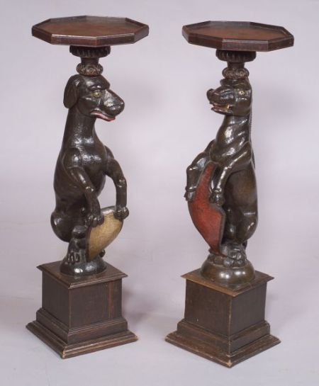 Pair of Continental Polychrome Painted and Part-ebonized Animal-form Pedestals
