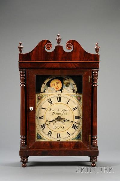 "Mahogany Bracket Clock by ""Daniel Rose,"""