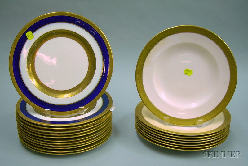 Set of Eight Royal Crown Derby Gilt St. George Pattern Porcelain Dinner Plates and a Set of Twelve George Jones...